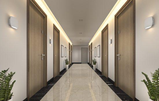 3d rendering modern luxury wood and tile hotel corridor